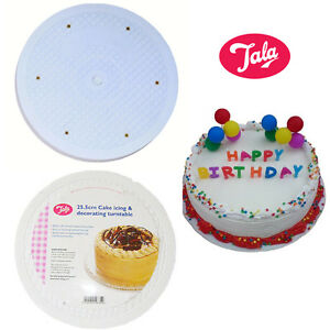 26CM Cake Stand  White Icing  Cake Decor 360 Rotating  Flat Turn Table Stand