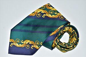 "Gianni Versace Green Silk Men's Neck Tie W: 4"" L: 58"" Made in Spain"