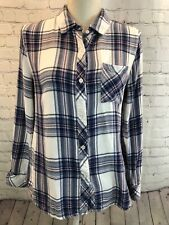 Rails Women's Sz M White Blue Rouge Hunter Plaid Button-front Flannel L/S Shirt