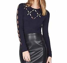 Karen Millen Women's Cut out Sweater Long Sleeve Navy XS