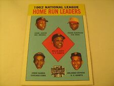 MLB Baseball Card 1962 Home Run Leaders 211 Topps Reprint AARON Mays [b5b16]