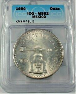 1980 Mexico Silver Onza Screw Press ICG MS62 Condition KM#M49b.5   (340)