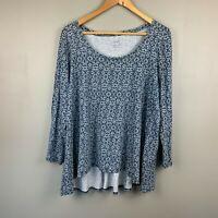 Pure Jill Womens Knit Top Large Petite Back Tie Print Tunic Long Sleeve Blue