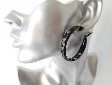 Gorgeous 5cm BLACK coloured heart design - pattern wide hoop earrings