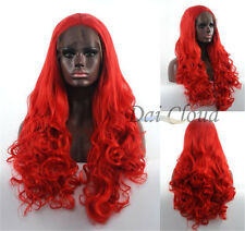 Fashion Hot Women Long Wavy Curly Red Lace Front Wig Cosplay Hair Full Wigs