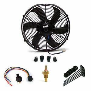 Universal GM 10 Inch Black Radiator Fan volume slim cooling new bundle auto rod