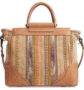 FRYE Large RIVIANA Leather Tote Bag Tan/Multi NEW