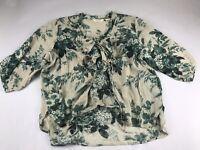 Denim & Supply Ralph XL Cotton Floral Ruffle Lace Up Blouse Top Shirt Boho