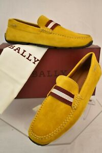 NIB BALLY PEARCE CURRY SUEDE WEB LETTERING LOGO DRIVER LOAFERS 9 US 42 ITALY