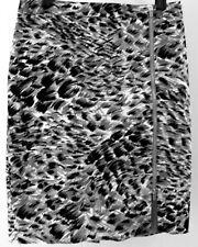 Talbots Pencil Skirt 10P Black Gray Animal Print Cotton Lined Zipper 10 Petite