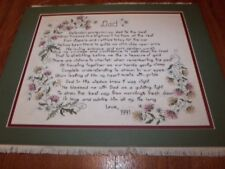 """COMPLETED Lovely DAD Counted Cross Stitch  18"""" x 14"""" Mounted and Matted"""