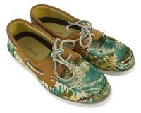 G.H. Bass & Co. Ladies Womens White Blue Tropical Print Slip On Boat Shoes Sz 8M
