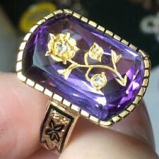 Antique Victorian 14k Amethyst 3 Rose Cut Diamond Rose of Sharon flower ring
