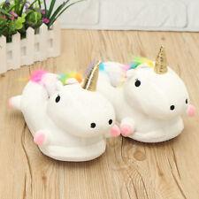 Women Girls Cute Plush Unicorn Led Light Up Slippers Fluffy Warmer Shoes Winter
