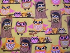 Tree Owls - Snuggle Flannel Fabric  2/3 Yard - Brown Pink and Yellow
