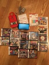 Nintendo 3DS XL Blue Bundle, Case, Stylus Pack, Charger, 18 Games. Ships Free!