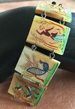 Handpainted Mother of Pearl MOP Link Bracelet Miniature Paintings Unique Vintage