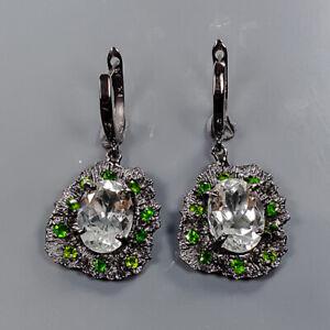 14x10mm Handmade SET Green Amethyst Earrings Silver 925 Sterling   /E58192