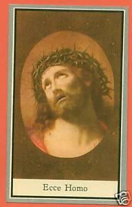 VINTAGE Catholic Holy Card ECCE HOMO Sorrowful Jesus Antique