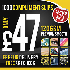 1000 DL Compliment Slips Printed In Full Colour - 120gsm!!
