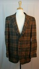 DAKS London New York Vintage Men's Plaid Blazer Sportcoat 100% ALL Virgin Wool