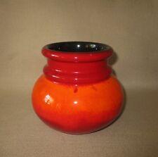 Hutschenreuther Keramik Laufglasur - Vase, Topf H. 12,5 cm. orange, Rot