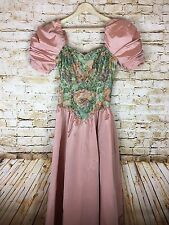 Vtg. 80's Prom House of Bianchi Pink Taffeta Puffed Sleeves Floral Bodice Dress