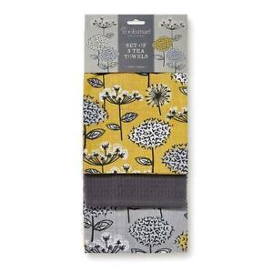 Cooksmart Tea Towel - Mustard, Pack of 3