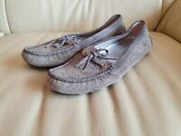 Ladies Gucci Shoes Grey Suede Monogrammed Loafers Moccasins size 36 UK 3  US 5