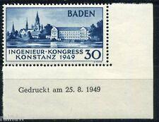 Baden Ingenieur Kongress 1946** Typ II Druckvermerk Eckrand Attest (S8503)