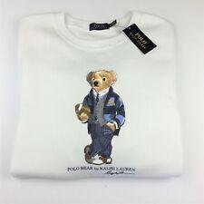 Polo Ralph Lauren Iconic Preppy Rugby Bear Fleece Sweatshirt Sweater 2XL White