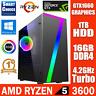 AMD RYZEN 5 3600 Six Core Desktop PC Tower 16GB DDR4 1TB 6GB GTX1660 Windows 10