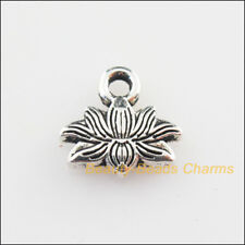 20Pcs Tibetan Silver Tone Flower Lotus Charms Pendants 10x11mm