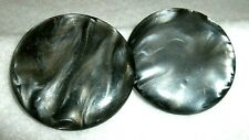 "2 Vintage Gray Swirl Marbled CELLULOID Lg. Shank Buttons 1-3/4"" Lot B 53"
