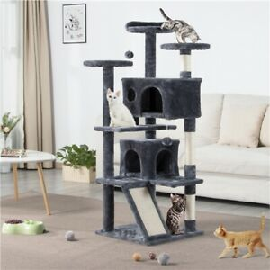 139cm Multilevel Cat Tree Tower Cat Furniture with 3-Cat Scratching Posts & Pad