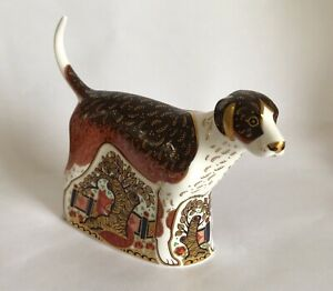 Royal Crown Derby 'Foxhound' Paperweight - 1st quality with gold stopper.