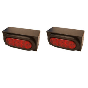 Pair of Red LED Stop Tail Turn Trailer Lights w/ Mounting Boxes