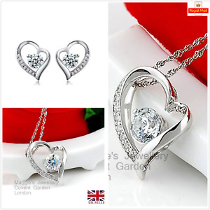UK Sterling Silver CZ Heart Jewellery Set Gift Boxed