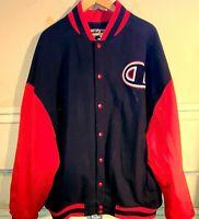 Mens Champion Big C Letterman Black/Red/White Varsity Jacket Size 4XL