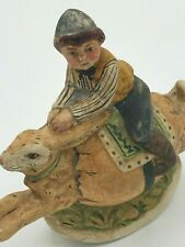 Retired Rare Vaillancourt Folk Art Collectibles - Boy Riding Bunny on Egg Rocker