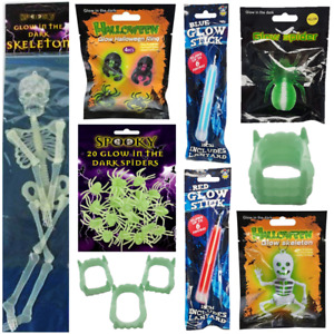 GLOW IN THE DARK Halloween Ring Necklace Skeleton Skull Glow Stick Spider Teeth