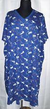 Dreams & Co blue cat print short sleeve cotton nightgown, Plus size 3X/4X