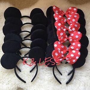 12pc Minnie Mouse Ears Headbands Black Red Polka Dot Bows Mickey Birthday Party