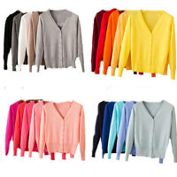 Women fake cashmere Sweater Cardigan Thin Knit  Long Sleeve Tops V-neck Jumpers