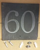 '60'  Slate House Number Door Plaque Sign With Capped Screws