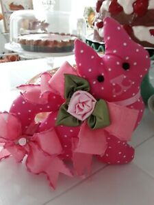 SHABBY PINK CABBAGE ROSE PINK POLKA DOT  KITTY CAT SHAPE PILLOW