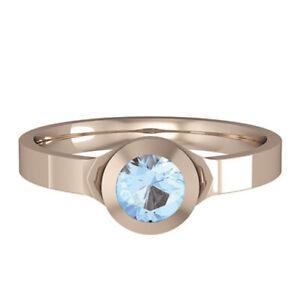 Rose Gold Aquamarine Ring Round Solitaire 18 Carat Gold Handmade British