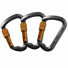 3PCS CARABINER Aluminum Alloy TWIST LOCKING Climbing OVAL SHAPE 30KN Rescue NEW