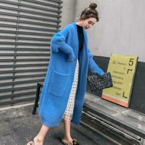 Faux Mink Fur Women's Long Sweaters Knitted Cardigan Outwear Thick Warm V-Neck