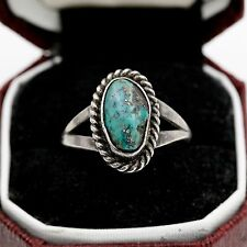 Antique Vintage Sterling Silver Native Navajo Blue Warrior Turquoise Ring 6.5